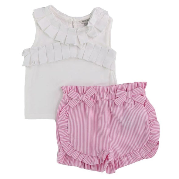 Hazel Pleated Trim Short Set by HabitualGirls
