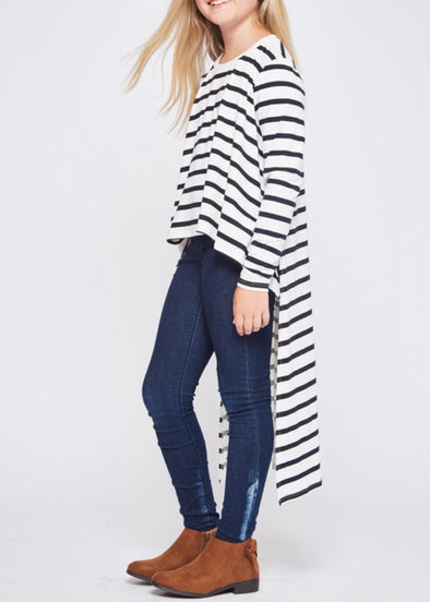 Striped High Low Top