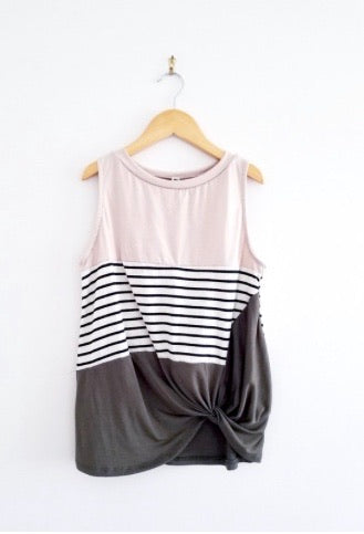 Olive and Tan Striped Tank
