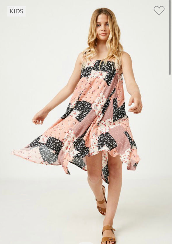 Patchwork Print Handkerchief Dress