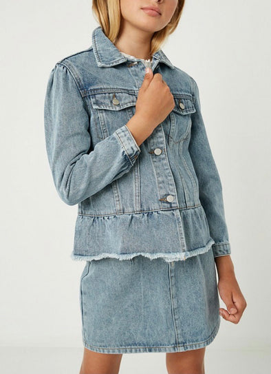 Peplum Ruffle Denim Jacket by Hayden Girl
