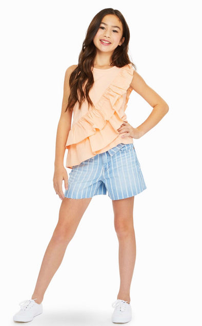 Calista Mixed Fabric Ruffle Top by Habitual Girls