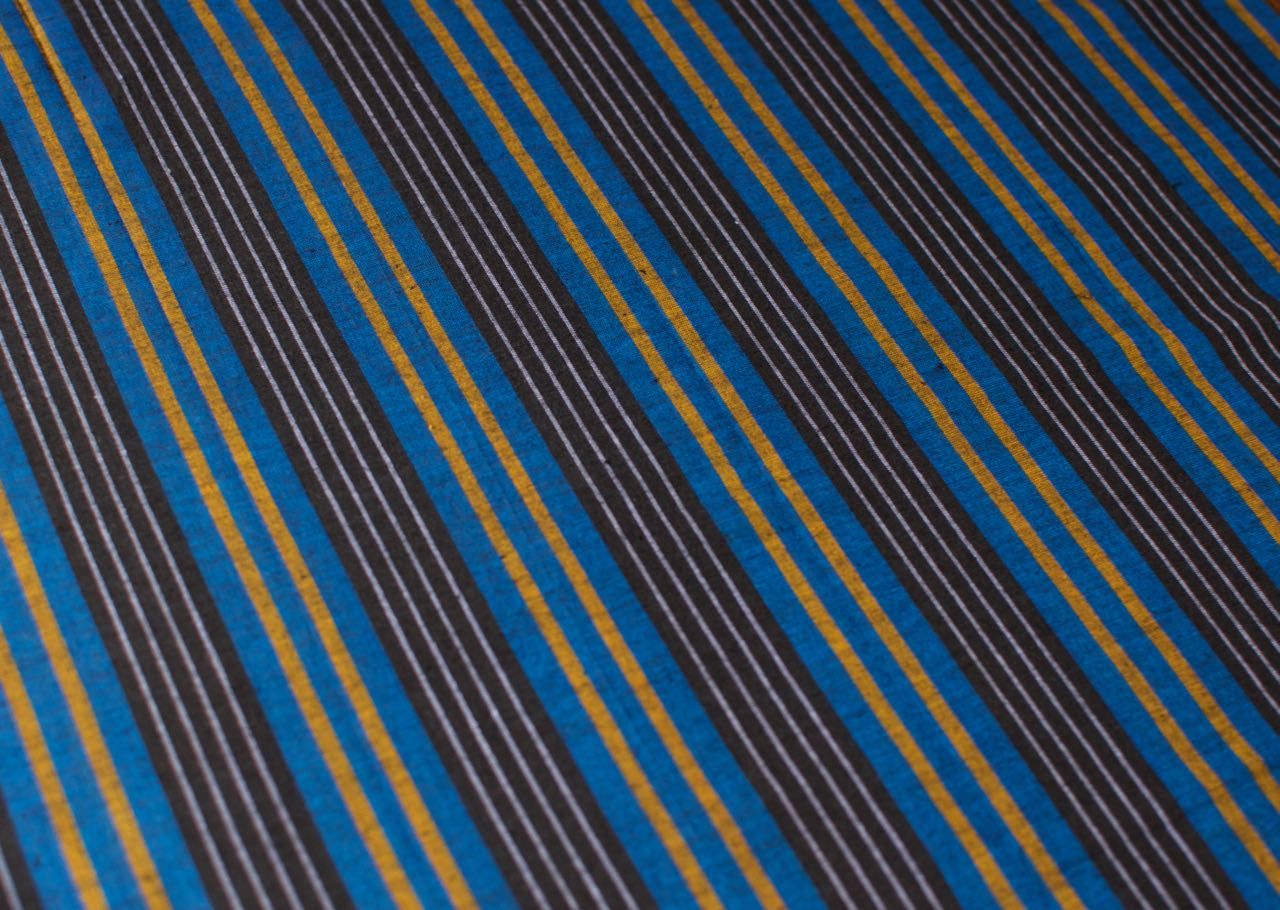 Sri Lankan Cotton - Blue & Yellow Stripe - Tukuru Textiles