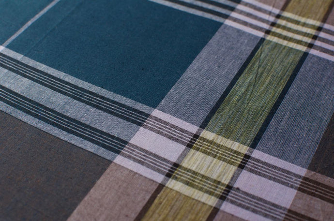 Sri Lankan Cotton - Blue & Brown Ikat Check - Tukuru Textiles
