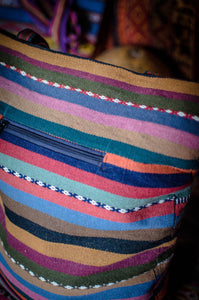 Natural dye bag - rainbow crosses - Tukuru Textiles
