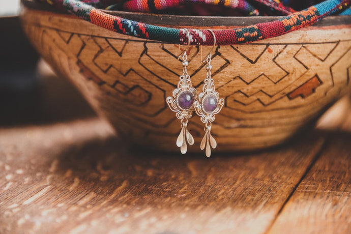 Amethyst spiral earrings - Tukuru Textiles