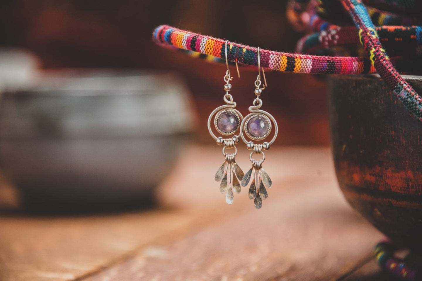 Amethyst stone earrings - Tukuru Textiles