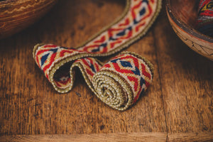 Natural Dye Red Diamond Cross Belt - Tukuru Textiles