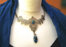 Chrysocolla and alpaca silver wirework necklace - Tukuru Textiles