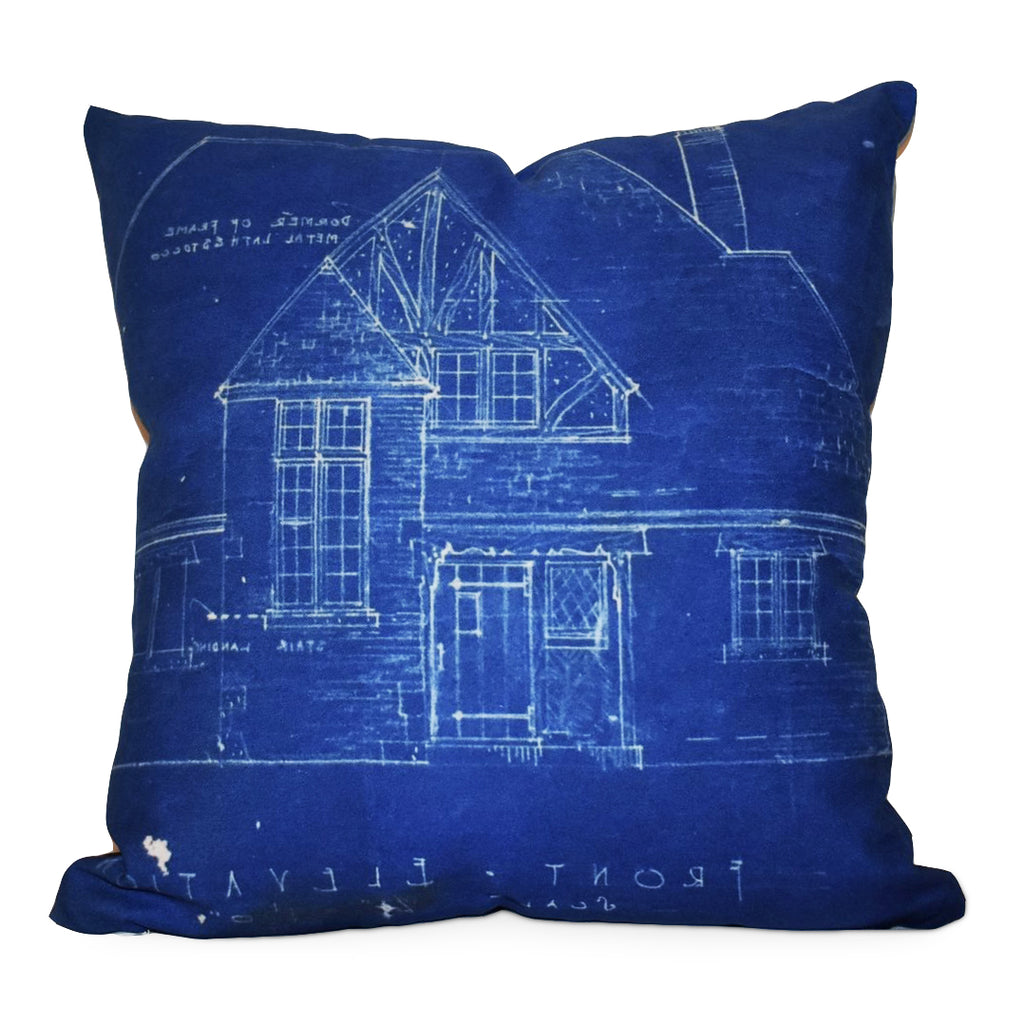 The William Blueprint Poly Twill Pillow