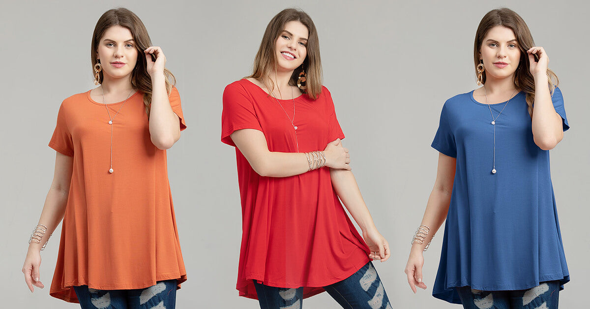 short sleeve flare tunic blouse