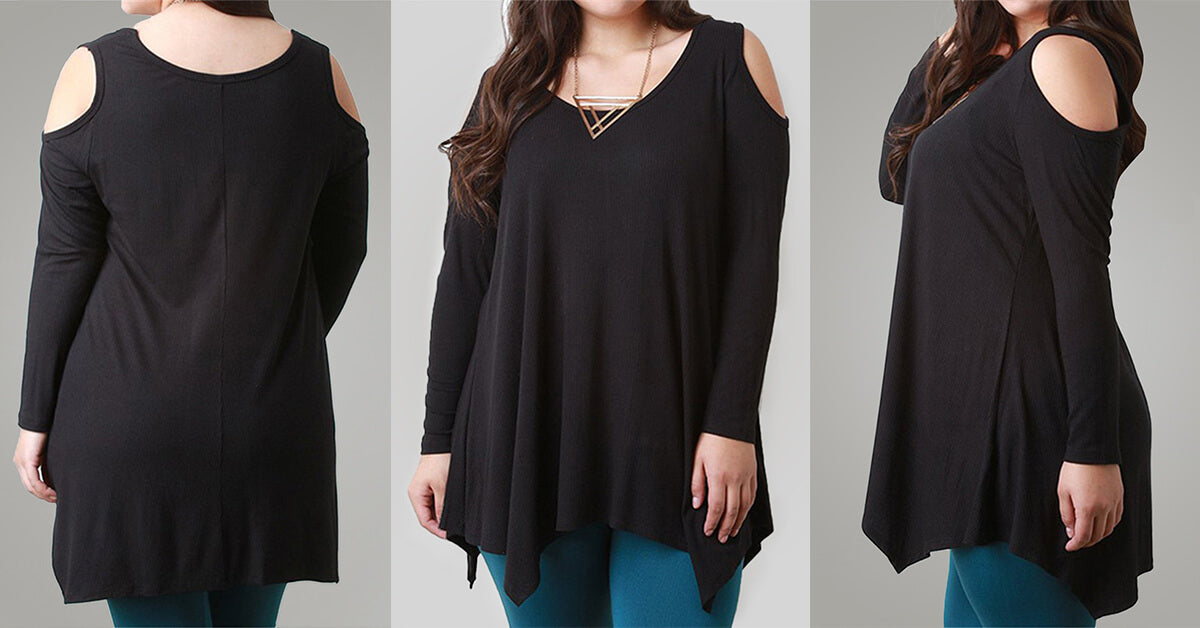 Cold Shoulder Black T-Shirts Blouse