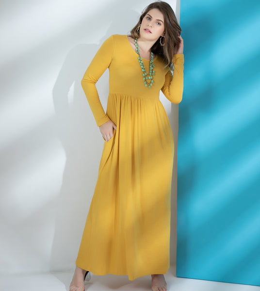 long fall dress for women light yellow long sleeve dress