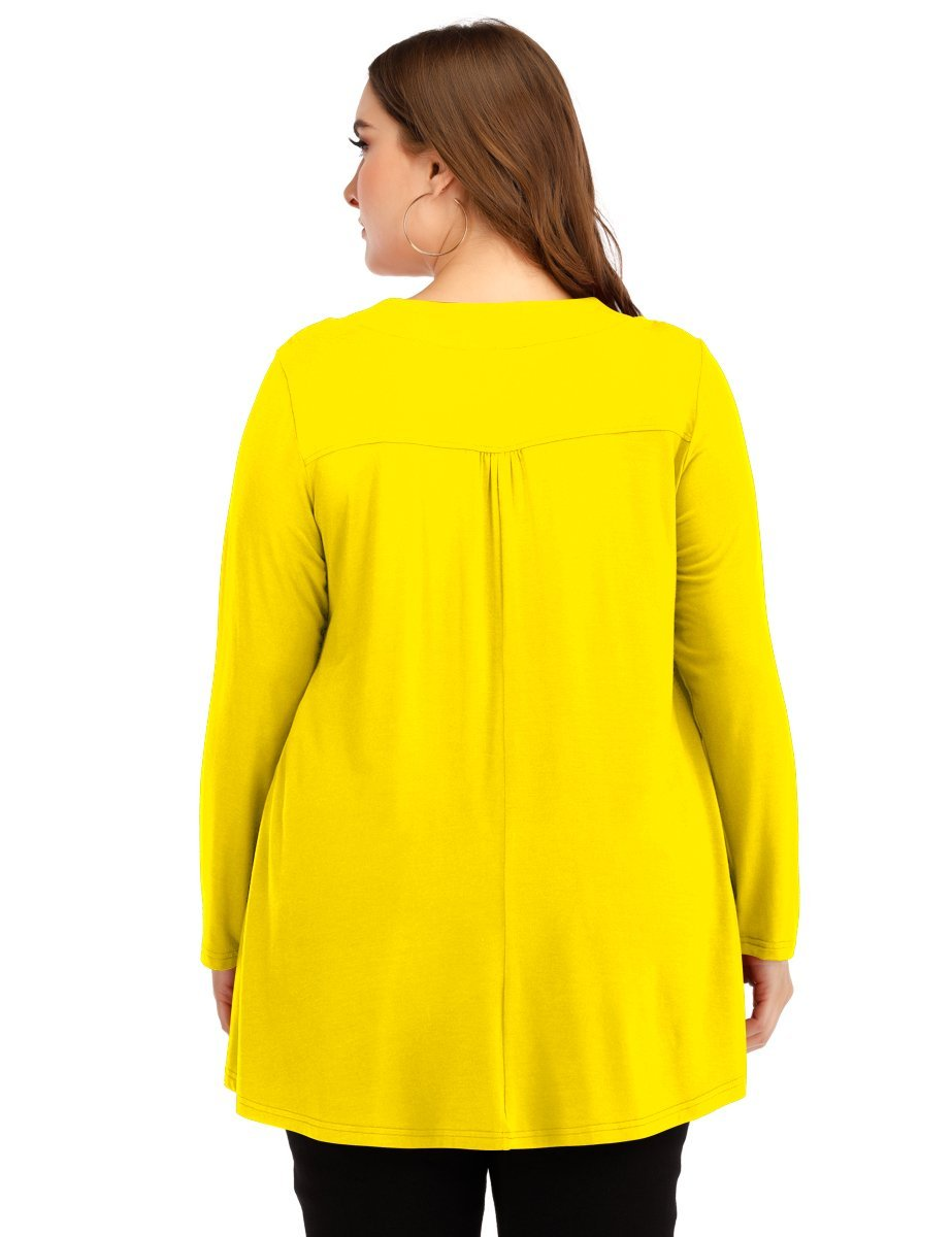 LARACE Women's Plus Size Tunic Tops Long Sleeve V Neck Blouses Basic T Shirt LARACE