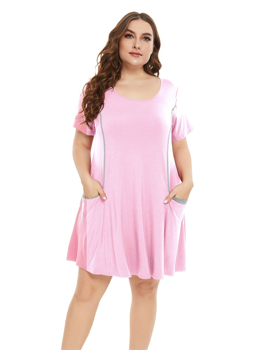 Plus Size T-Shirt Dresses Casual Pocket Pajamas Short Sleeve Ladies Nightgowns-LARACE 8077