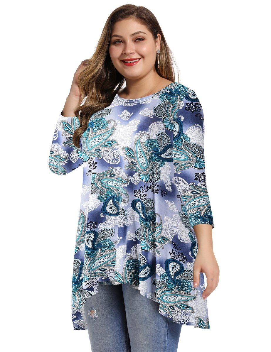 LARACE Womens Plus Size 3/4 Sleeve Loose Fit Flare Swing Tunic Tops Basic T Shirt long shirt LARACE