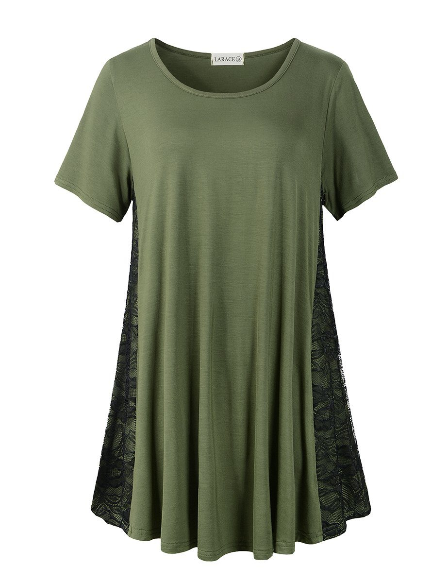 LARACE Plus Size Women Lace Tunic Top Short Sleeve Flare T Shirt for Leggings Tops LARACE S Army Green