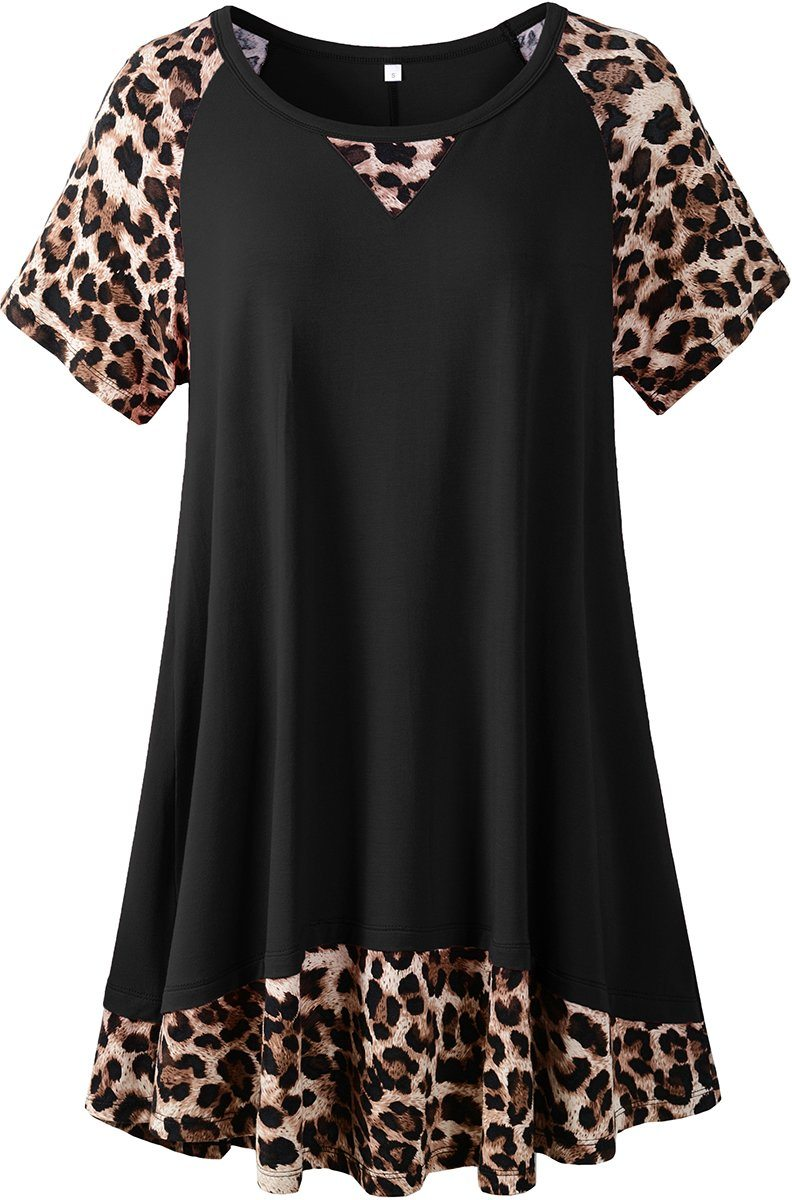 LARACE Plus Size Tunic Leopard Tops for Women Contrast Color Short Sleeve Summer T-Shirt Tops LARACE Black 1X