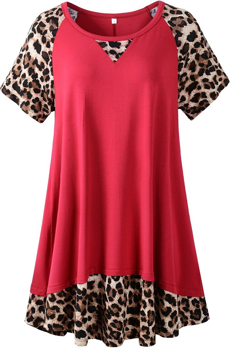LARACE Plus Size Tunic Leopard Tops for Women Contrast Color Short Sleeve Summer T-Shirt Tops LARACE Wine Red 1X