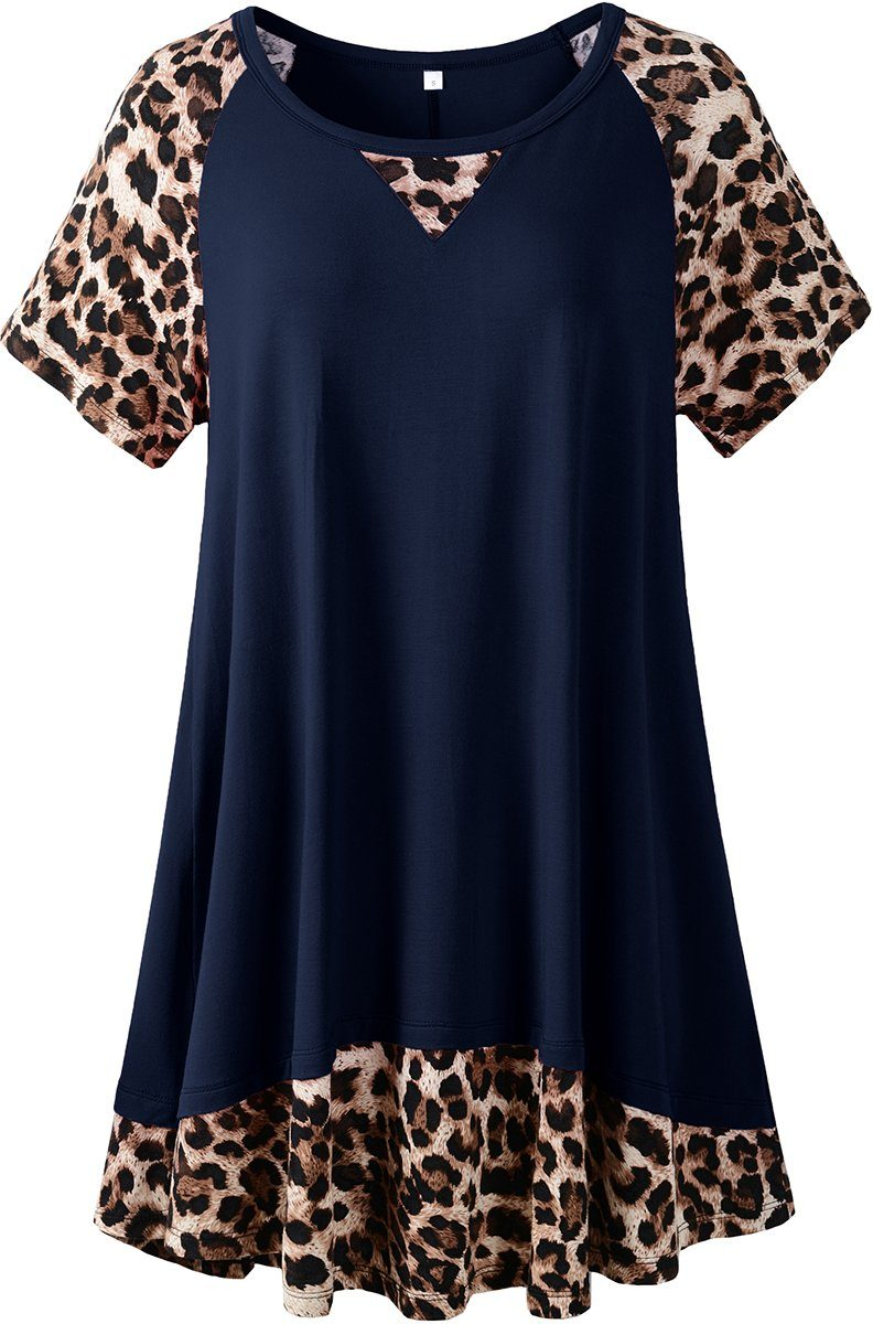 LARACE Plus Size Tunic Leopard Tops for Women Contrast Color Short Sleeve Summer T-Shirt Tops LARACE Navy Blue 1X