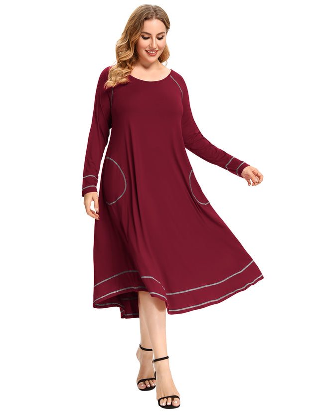 Raglan Sleeve Long Pajamas with Pocket Plus Size Nightgown Maxi Dresses-LARACE 8092