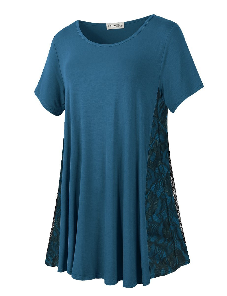 LARACE Plus Size Women Lace Tunic Top Short Sleeve Flare T Shirt for Leggings
