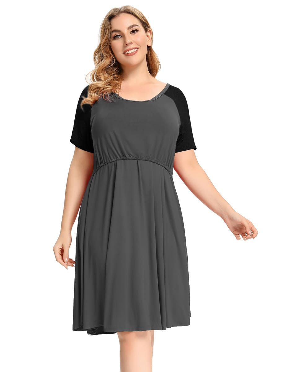 Short Sleeve Nightgowns Plus Size Maternity Dress with Pockets Breastfeeding Sleepwear-LARACE 8095