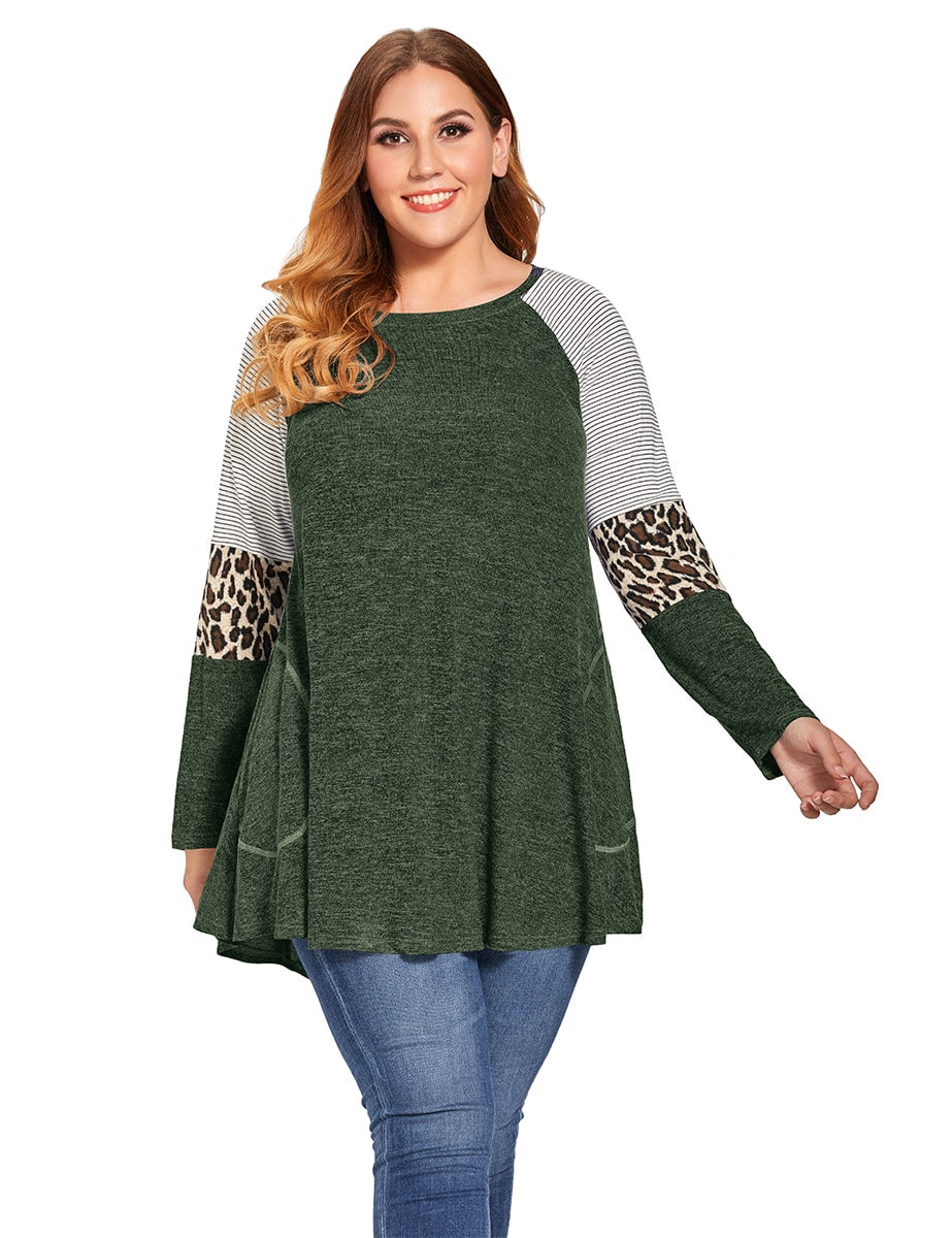 LARACE Plus Size Leopard Long Sleeve Shirt with Pocket-8083