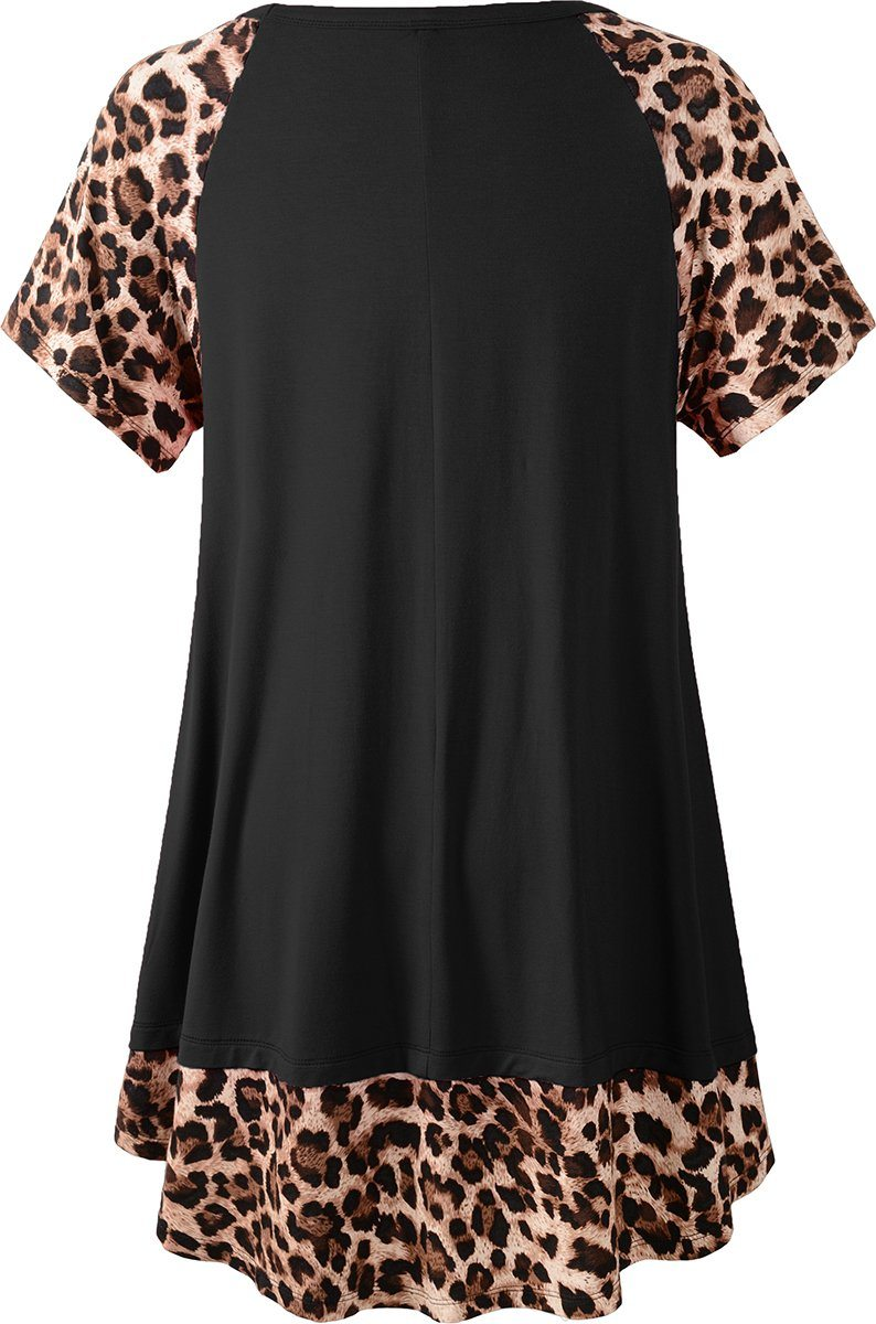 LARACE Plus Size Tunic Leopard Tops for Women Contrast Color Short Sleeve Summer T-Shirt Tops LARACE