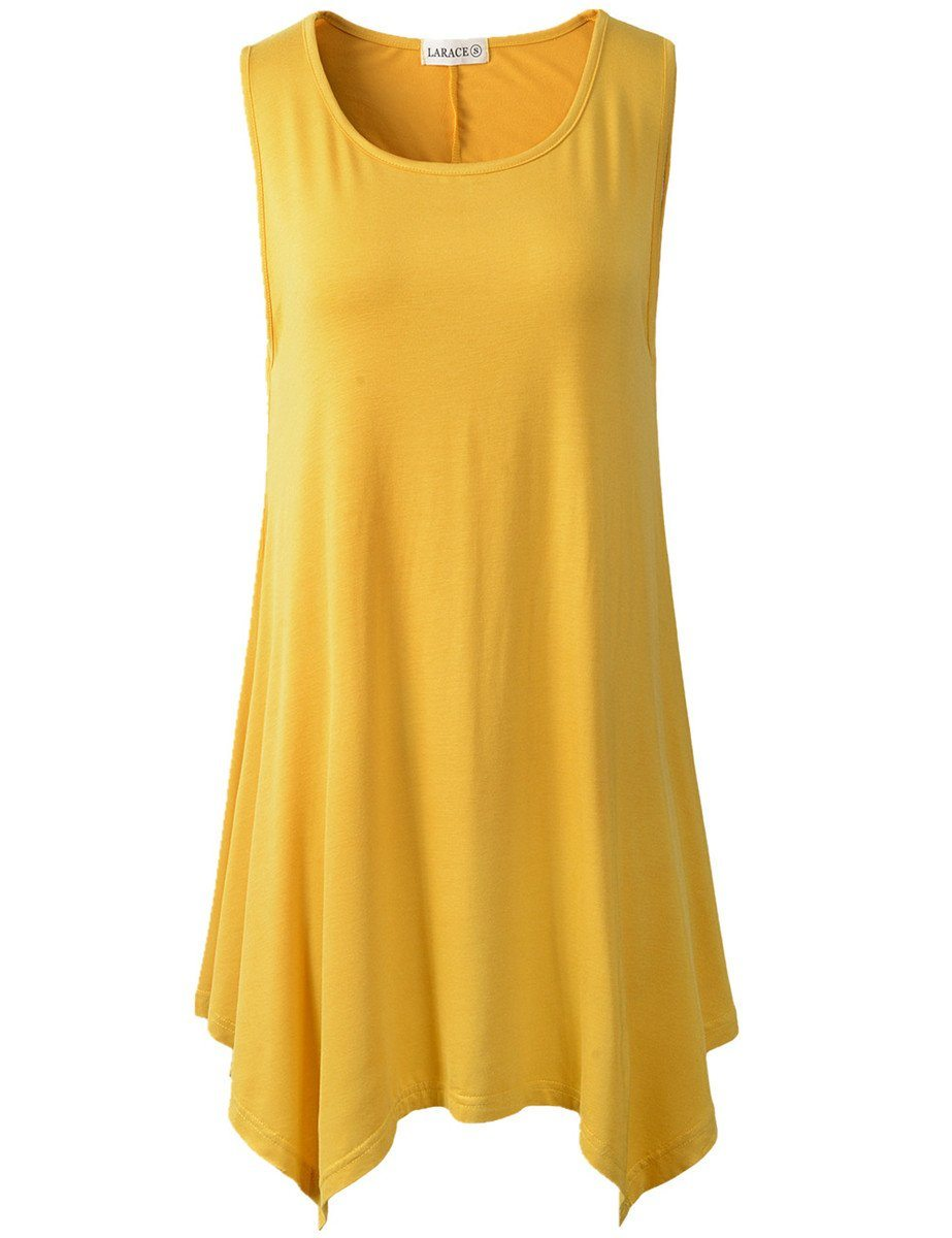 LARACE Plus Size Solid Basic Flowy Tank Tops Summer Sleeveless Tunic-LARACE