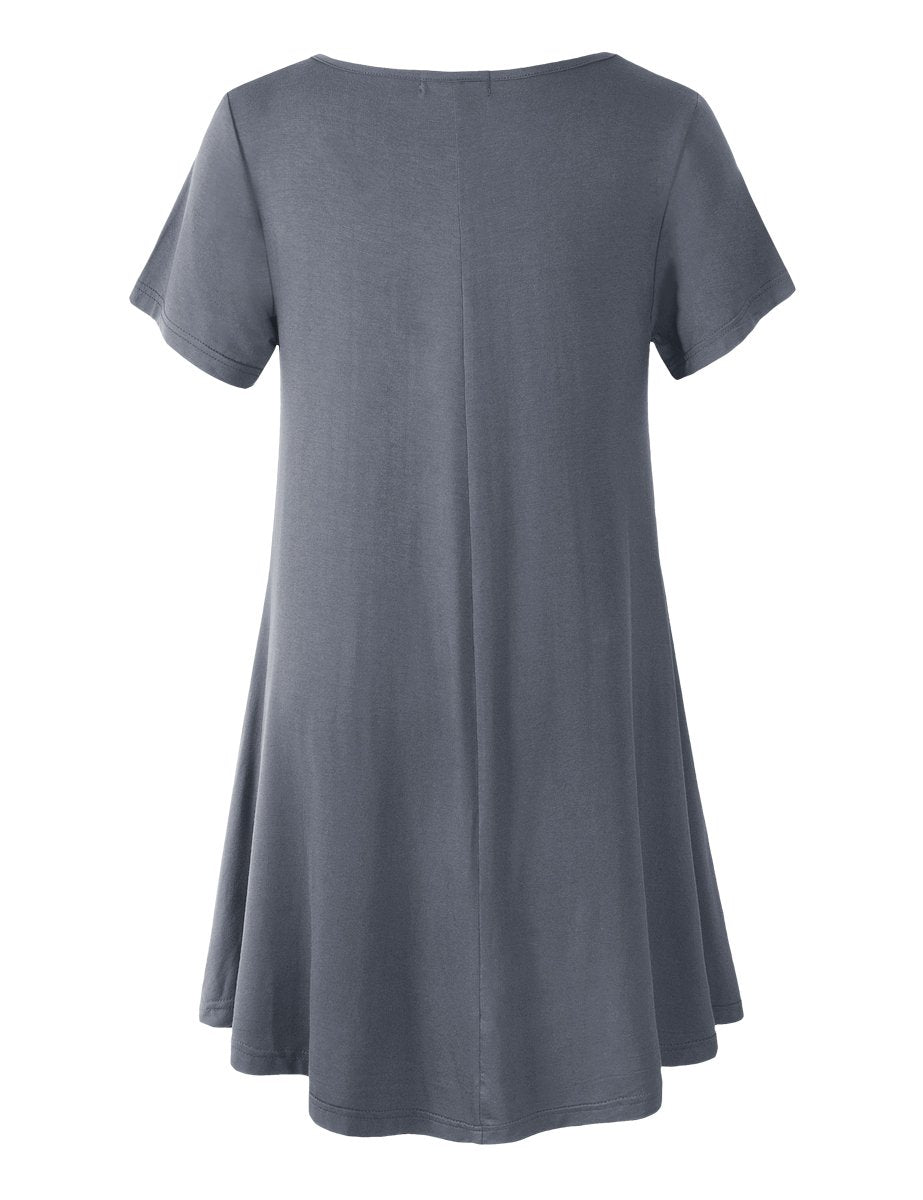LARACE Plus Size Women's Short Sleeve Swing Tunic Casual Pockets Loose T Shirt Dress