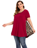 LARACE Color Block Leopard Print Tops for Women Plus Size Short Sleeve-8062
