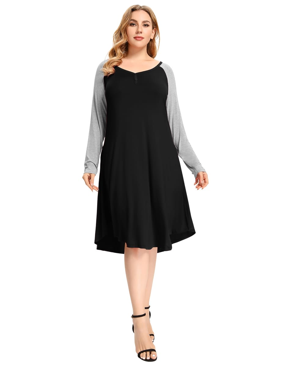 Plus Size Nightgown with Pockets Color Block Casual Dress Button Long Sleeve Midi-LARACE  8093