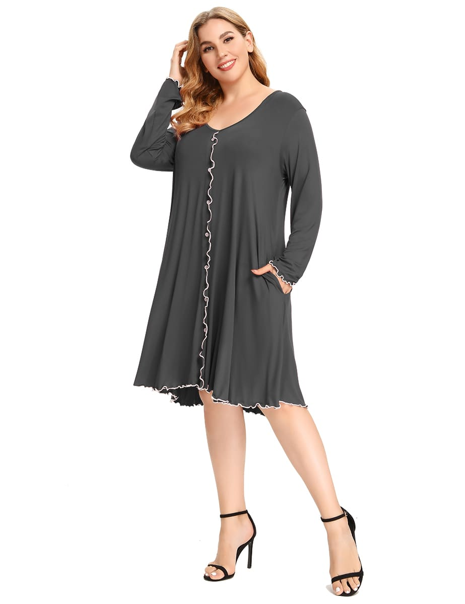 Plus Size  Long Sleeve Sleepwear Knee Length Dress V Neck Buttons Down Nightgown with Pocket-LARACE 8096