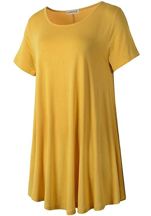 LARACE Crew Neck Short Sleeves Flare Tunic Blouse Tops LARACE S yellow