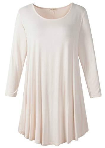 3/4 Sleeve Tunic Top Loose Fit Flare Tunic Shirt Tops LARACE S beige