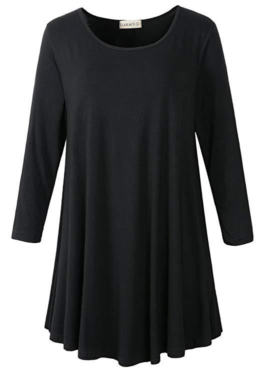 3/4 Sleeve Tunic Top Loose Fit Flare Tunic Shirt Tops LARACE S black