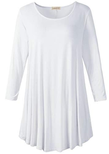 3/4 Sleeve Tunic Top Loose Fit Flare Tunic Shirt Tops LARACE S white