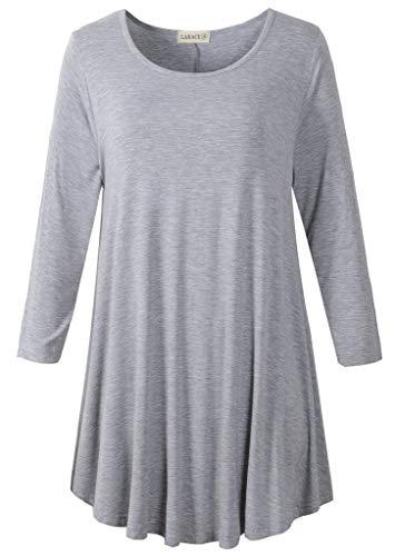 3/4 Sleeve Tunic Top Loose Fit Flare Tunic Shirt Tops LARACE S light gray