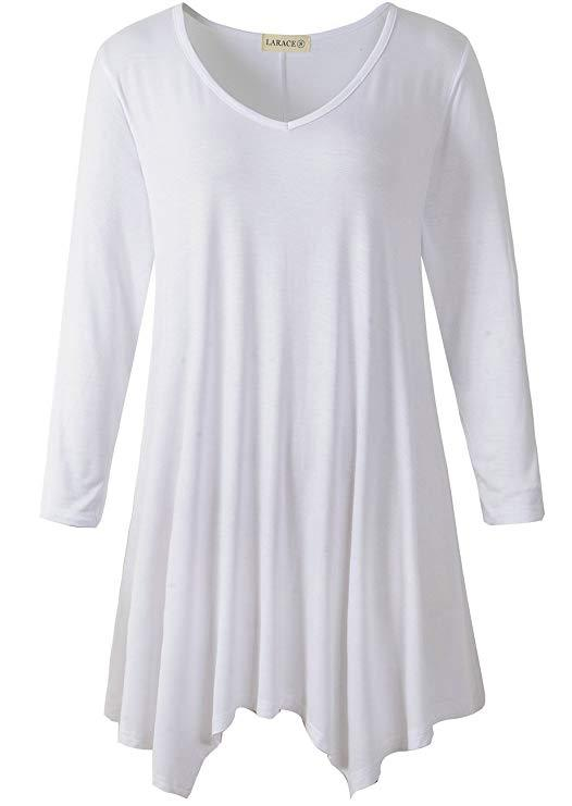 LARACE V-Neck Plain Swing Tunic Top Casual Tunic Shirt Tops LARACE S white