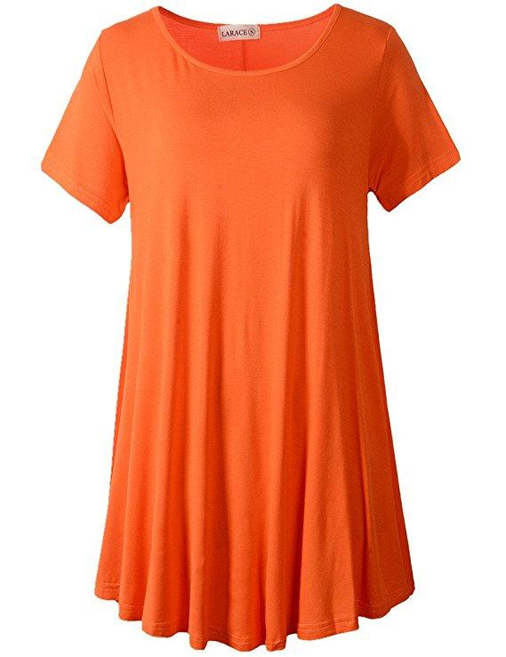 LARACE Crew Neck Short Sleeves Flare Tunic Blouse Tops LARACE S orange