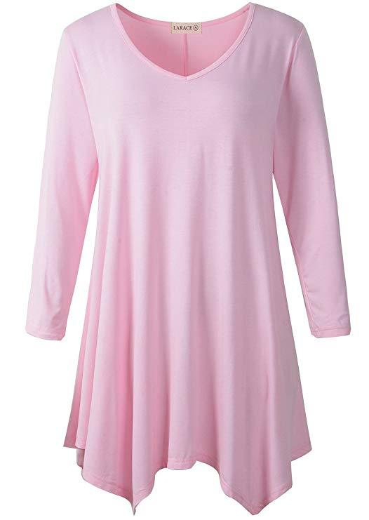 LARACE V-Neck Plain Swing Tunic Top Casual Tunic Shirt Tops LARACE S pink