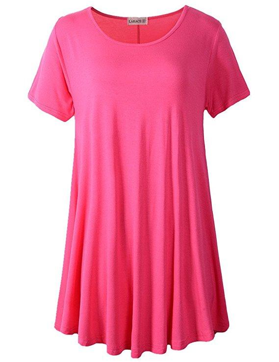 LARACE Crew Neck Short Sleeves Flare Tunic Blouse Tops LARACE