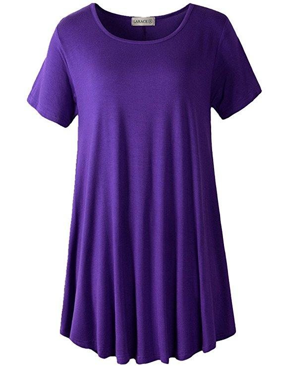LARACE Crew Neck Short Sleeves Flare Tunic Blouse Tops LARACE S deep purple