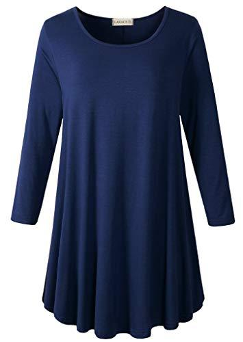 3/4 Sleeve Tunic Top Loose Fit Flare Tunic Shirt Tops LARACE S navy blue