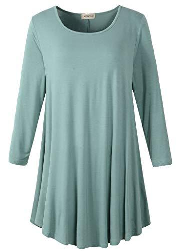3/4 Sleeve Tunic Top Loose Fit Flare Tunic Shirt Tops LARACE S grayish green