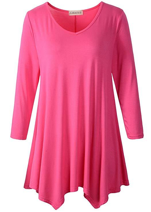 LARACE V-Neck Plain Swing Tunic Top Casual Tunic Shirt Tops LARACE S fushia