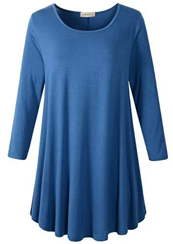 3/4 Sleeve Tunic Top Loose Fit Flare Tunic Shirt Tops LARACE S steel blue