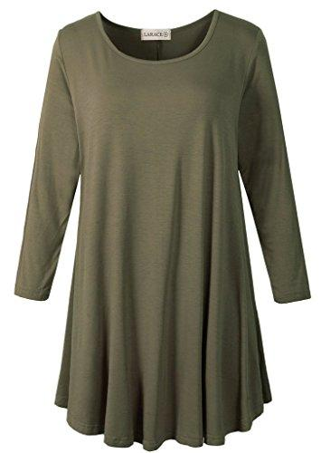 3/4 Sleeve Tunic Top Loose Fit Flare Tunic Shirt Tops LARACE S army green