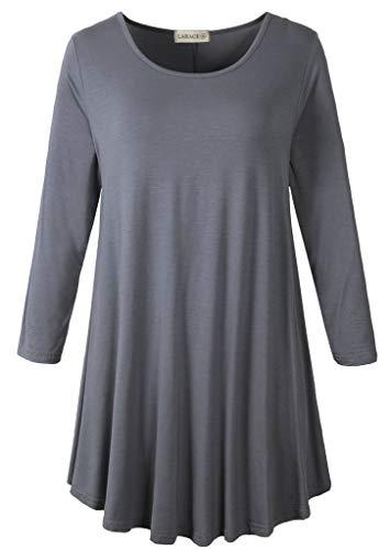 3/4 Sleeve Tunic Top Loose Fit Flare Tunic Shirt Tops LARACE S deep gray